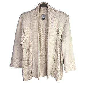 Chico's Women's Cream Open Front Sweater Size 1